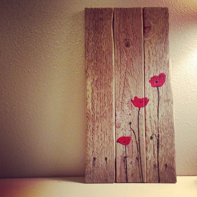 Reclaimed wood and poppies art!