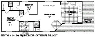 single wide mobile home floor plan 756CT