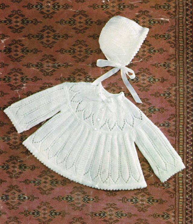 Baby matinee coat and bonnet set vintage knitting by Ellisadine