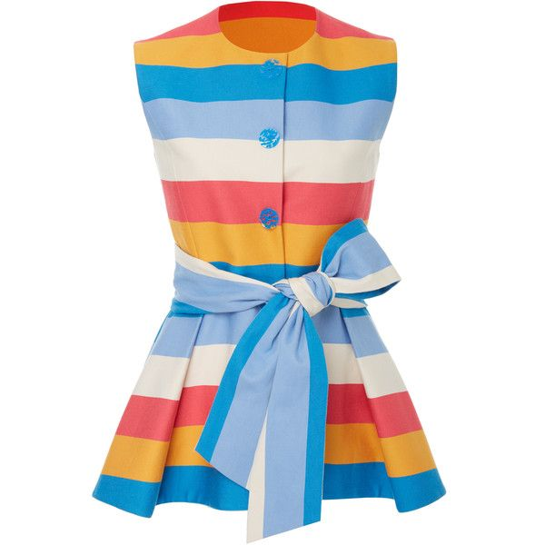 Carolina Herrera Striped Peplum Vest (£1,675) ❤ liked on Polyvore featuring outerwear, vests, tops, stripe, carolina herrera, vest waistcoat, cotton vest, blue vest and j.crew vest