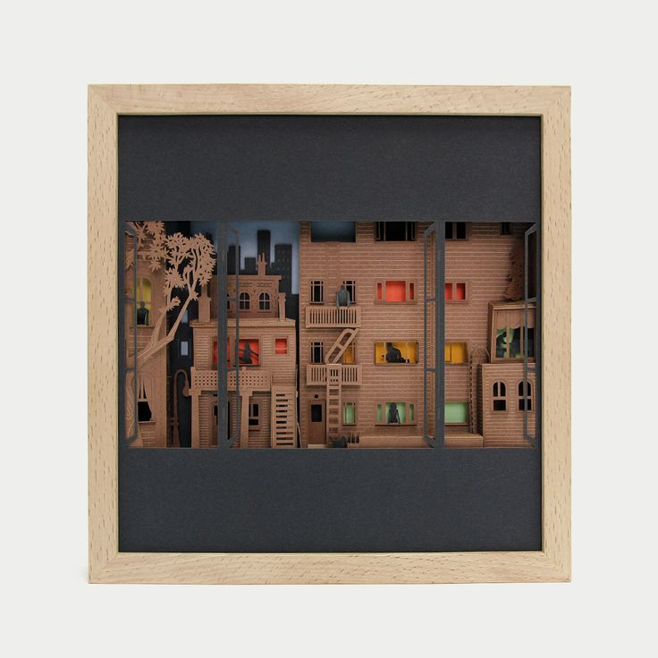 """Rear window - 3D papercut minuature - 175€ - http://www.thesmallestboy.com/en/shop/ """"…A bully never exhibit his crime in front of an open window.""""  Three dimensional paper artwork inspired in Alfred Hitchcock movie """"Rear Window"""". Limited Edition, 100 copies."""