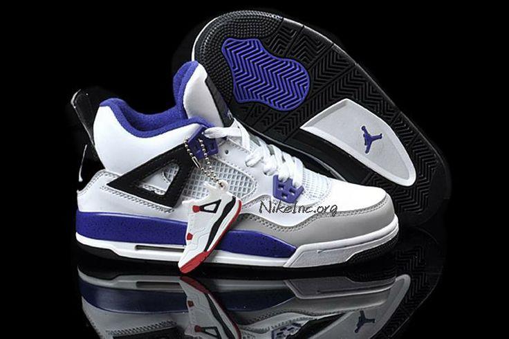 Latest Jordan Shoes | 2013 New Womens Nike Air Jordan 4 Retro Shoes White Gray Purple - $59 ...