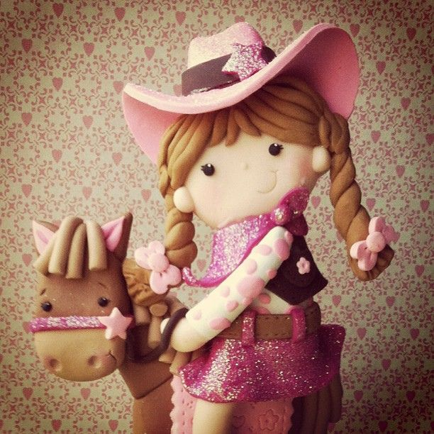 Vintage Cowgirl cake topper
