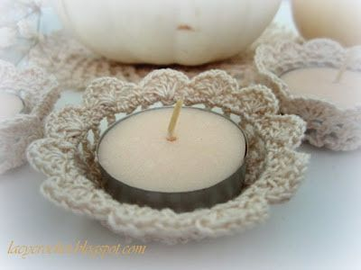 Crochet Tealight Candle Holder Tutorial  ༺✿Teresa Restegui http://www.pinterest.com/teretegui/✿༻
