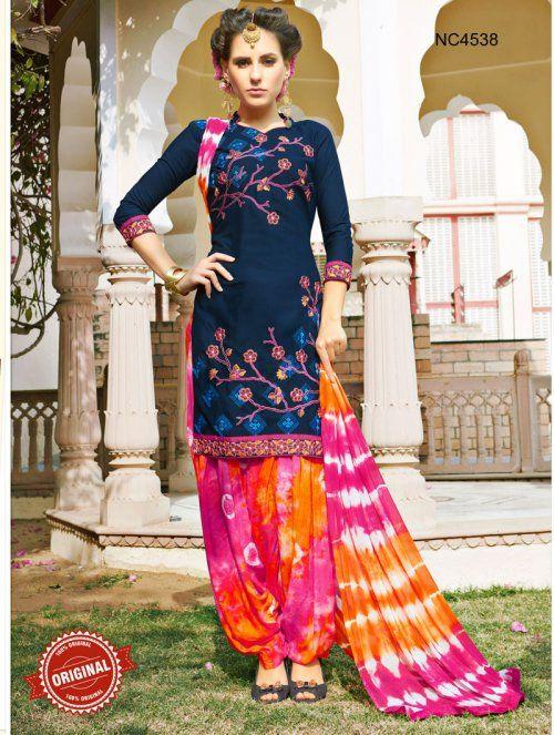 Dark Blue & Pink Semi Cotton Patiala Suit