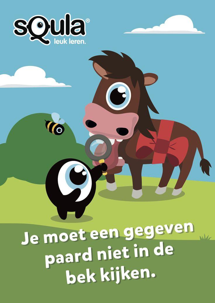 Je moet niet klagen over iets wat je gratis gekregen hebt.  Educatieve poster met Nederlandse spreekwoorden en gezegden: Je moet een gegeven paard niet in de bek kijken.