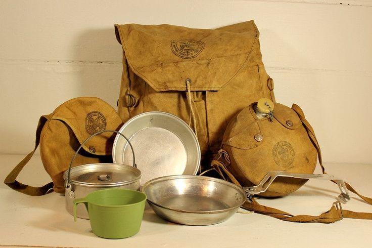 Boy scout Backpack,  Cookware, Canteen Canvas 1960s