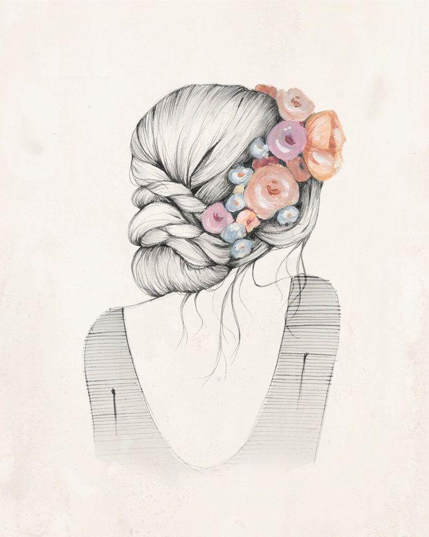 Flowers in her hair 8x10 art print by KelliMurrayArt on Etsy