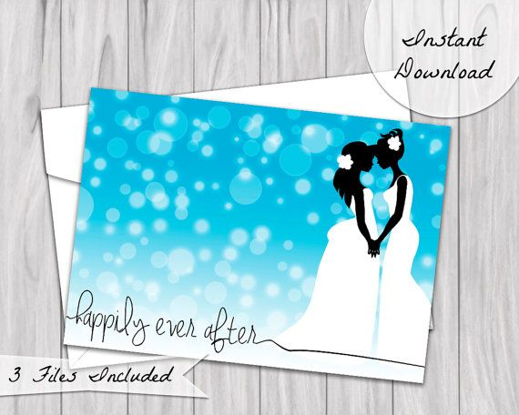 Happily Ever After Wedding Card.  Featuring lesbian couple, bride silhouettes, against blue ombre background by PlayfulPixieStudio