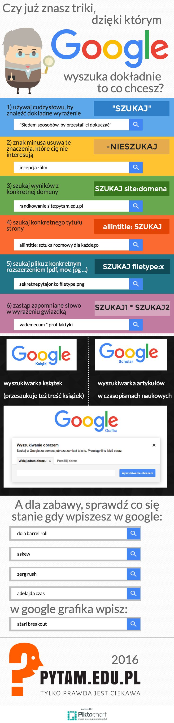 Jak dokładniej wyszukiwać w google? infografika