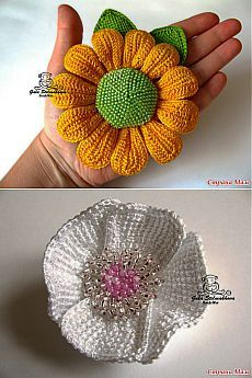 Flower on the cap and hairpins in the Tunisian technique - Knitting - Home Moms