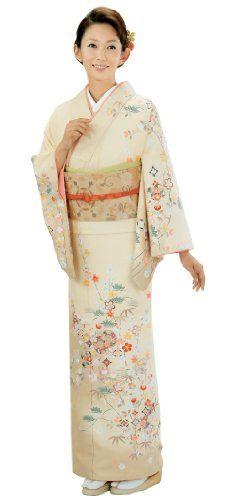 《格安》訪問着 仕立て上がり 着物 3点セット クリーム色菊に梅柄[13] | 通販着物.com