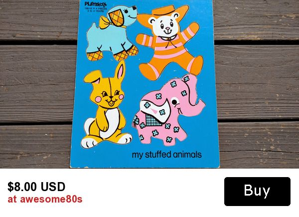 Retro 1950s Playskool Wooden Puzzle My Stuffed Animals Featuring Puppy Dog, Teddy Bear, Bunny Rabbit and Pink Elephant ~ ready for play or display ~