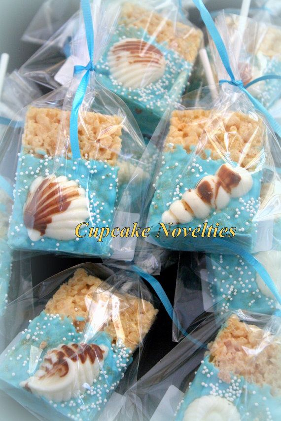 Elegant & delicious Seashell & Sand Dollar topped Chocolate dipped Rice Krispie Treats! Great for a Beach Wedding, an Under the Sea or Mermaid