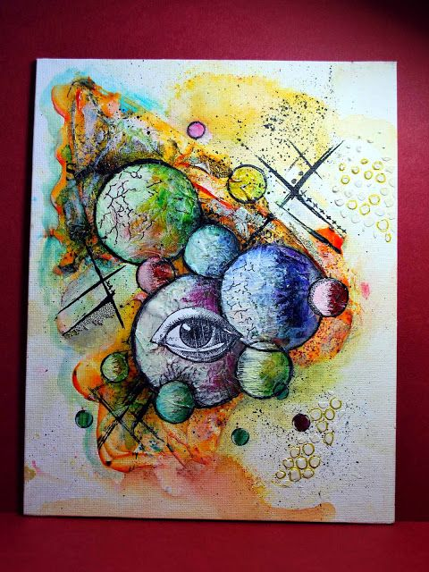 Eileen's Crafty Zone: Rochester Workshops. June 2015 - Mixed Media, Canvas One