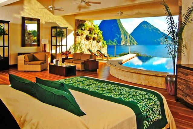 Five fabulous hotels in St Lucia - Ladera is the only resort in St.Lucia located on the UNESCO World Heritage Site, overlooking the Pitons and the Caribbean Sea. It is located on the Soufriere Volcano.