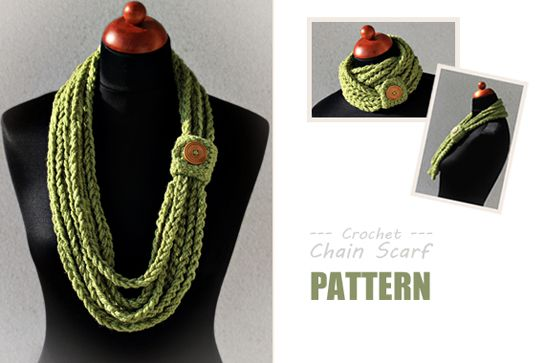 Crochet pattern Chain Scarf by Zoom Yummy Crochet. I like the color too.
