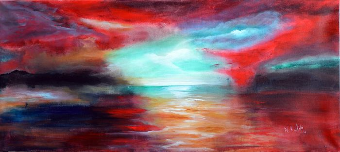 """Dream Place"" is an abstract colorful painting. The optimistic light in the far center of this inspiring painting -like a beacon- leads you to safe haven.  The size of artwork is: 50 X 100 X 3 cm 