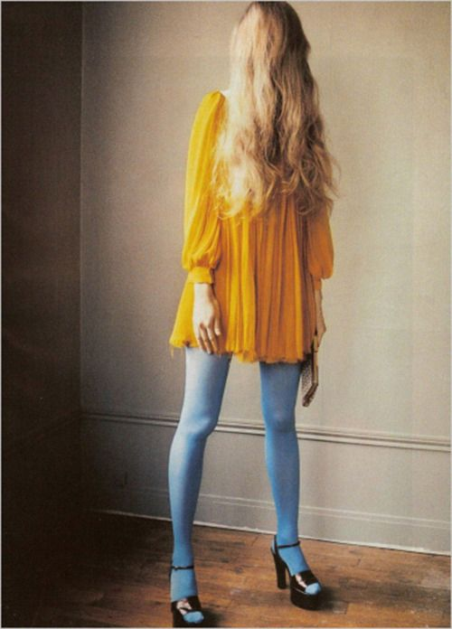 Yellow dress with blue stockings Christian Sutter (thumbs up to this)  I LOVE THIS LOOK SO MUCH VALERIE