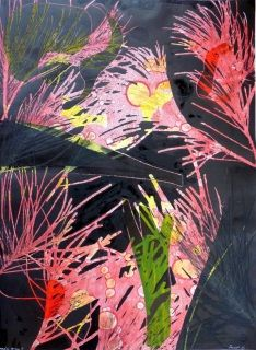 Forest 4 by Mandy Gunn A$475 Monoprint with collage 75 x 55cm unframed