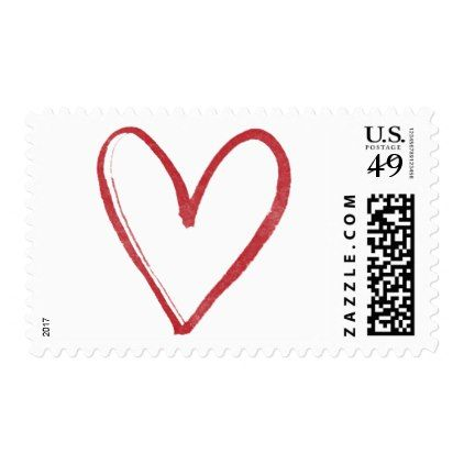 Red Watercolor Outline Heart 6 Valentine & Wedding Postage - valentines day gifts gift idea diy customize special couple love