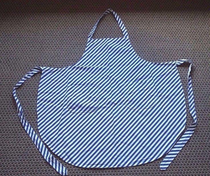 Vintage Finland Vuokko Nurmesniemi Apron Blue and White Stripes Marimekko style