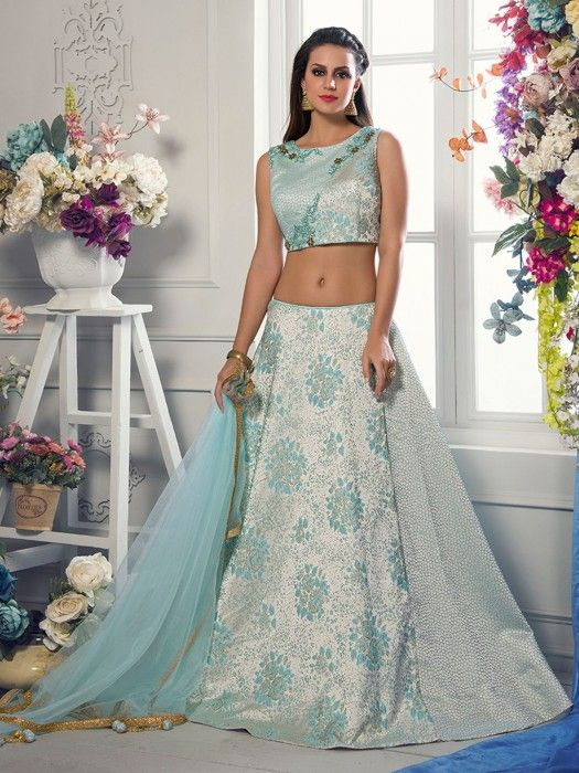 Shop Sky blue silk party wear lehenga choli online from G3fashion India. Brand - G3, Product code - G3-WLC3291, Price - 13995, Color - Blue, Fabric - Silk,