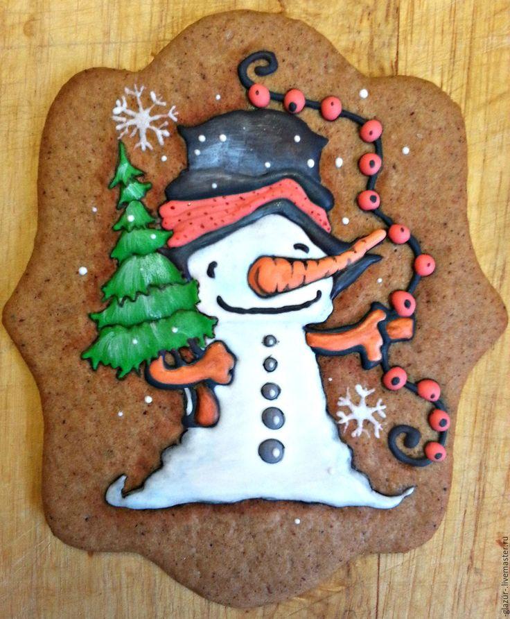 """Купить Имбирное печенье """"Снеговик с гирляндой"""" - комбинированный, снеговик, печенье, кулинарный сувенир, подарок на новый год"""