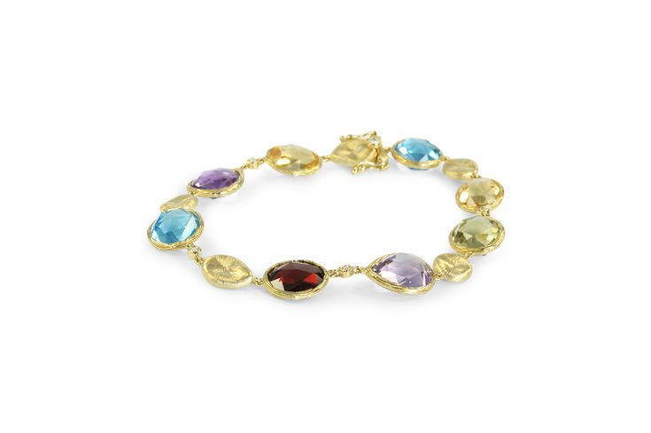 18 ct yellow gold bracelet set with blue topaz, yellow citrine, red garnet, green & purple amethyst with small white diamonds