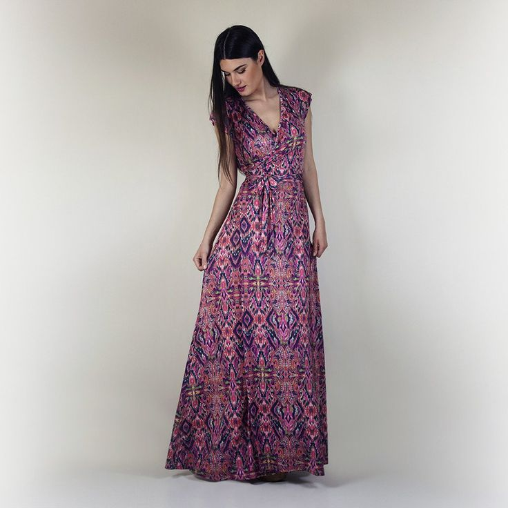 Violet wrap dress pink paisley print