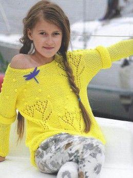 Детский пуловер Желтые тюльпаны