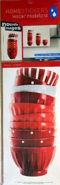 Homestickers Tazze rosse e bianche, per decorare pareti o pensili della cucina. Rinnovare casa senza danneggiare mobili e pareti. Resistente all'acqua. Disponibile da C&C Creations Store