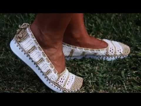 Zapatos tejidos crochet. Pantuflas crochet fácil 1/2 - YouTube
