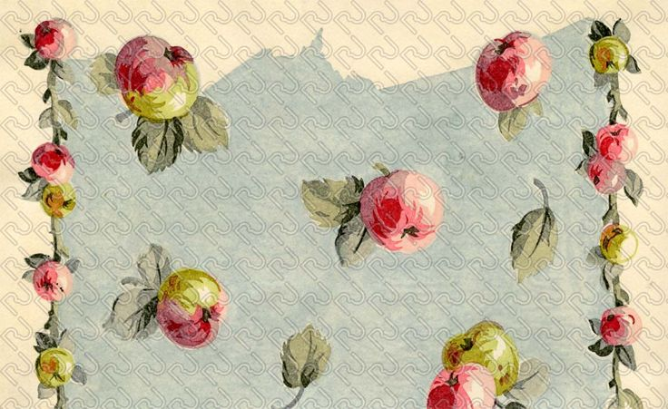 (9124) romantic painting apple – mela pittorica romantica – Imagesfashiontextiles