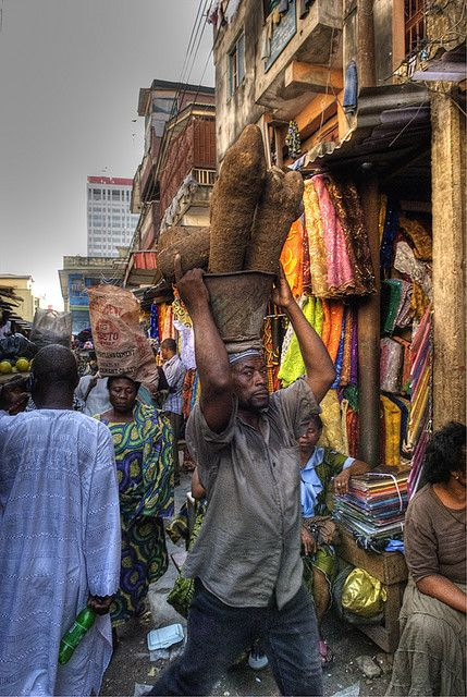 This is an example of the Nigeria Lagos Market. Nigeria is in the western part of Africa, many countries in Africa have markets very similar. The markets are where the people can buy, trade or sell goods with others.