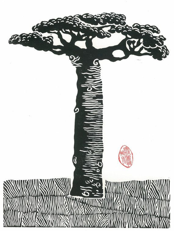 Printmaking LINOCUT   Baobab Tree  Wall Art Wall Decor by magprint, $50.00