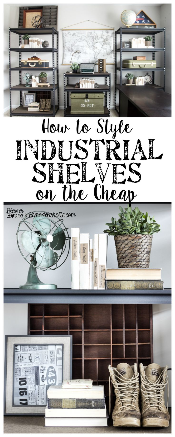 Best 25 metal shelving ideas on pinterest metal shelves for Warm industrial decor