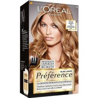 L'Oréal Paris Préférence Glam Highights Nr 2: Creëer nu zelf natuurlijke highlights in je haar!   De speciaal ontworpen borstel helpt je om extra fijne 'glamorous highlights' te zetten.  Het maakt prachtige highlights tot in de punten via subtiele nuances. Na het kleuren zorgt  de nutriceramide voor een schitterende glans.  Nr 2: voor donkerblond haar