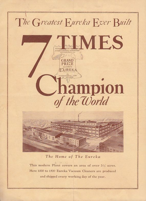 Eureka Vacuum Cleaner 7 Times Champion of the World 1926 Vintage Brochure