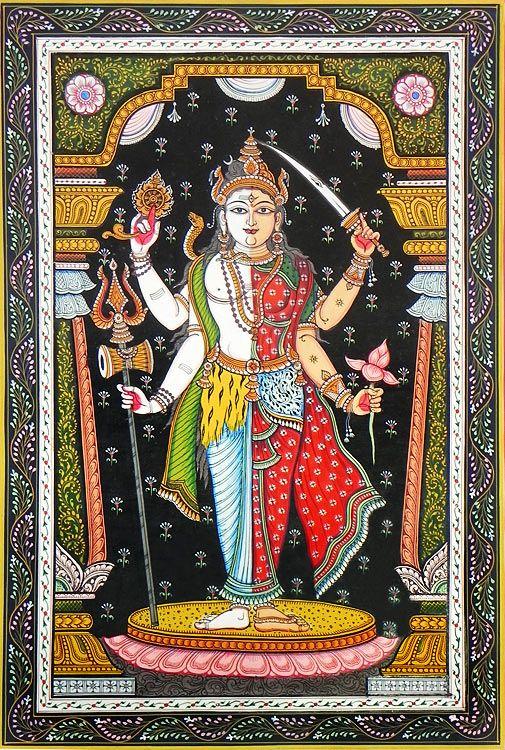 Shiva and Durga as Ardhanarishwar (Orissa Paata Painting on Canvas - Unframed)
