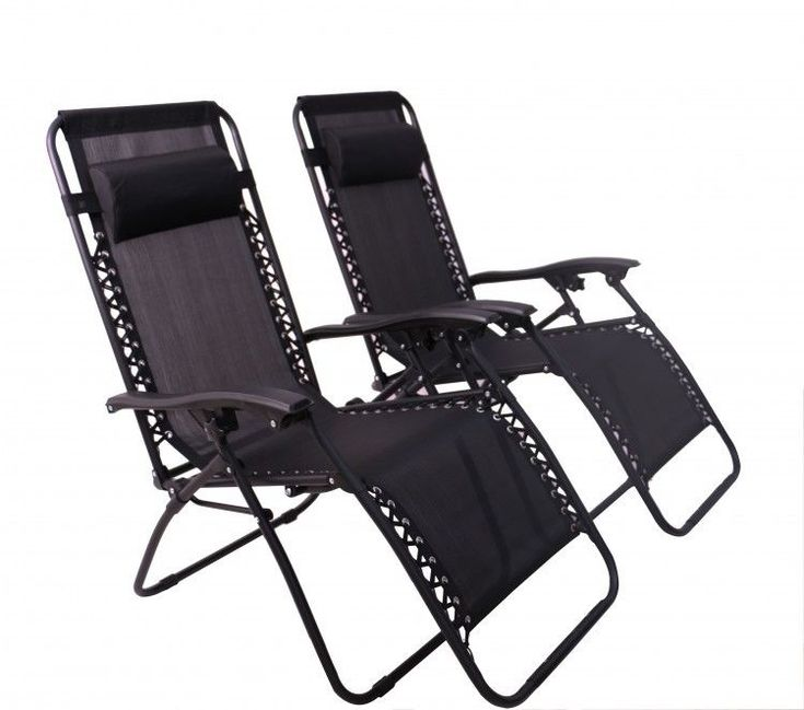 Zero Gravity Recliner Chairs Pillow Outdoor Garden Furniture Black Set of 2 New #ZeroGravityReclinerChairs