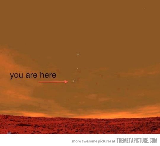 The Earth as seen from Mars. And u are rotating at 1,000 mph, hurling thru space at 67,000 mph hanging by your feet on a round ball.   Yikes what is there to be afraid of then.