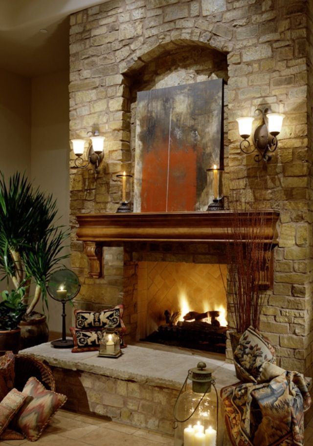 Living Room With Cozy Fireplace Fireplaces Pinterest