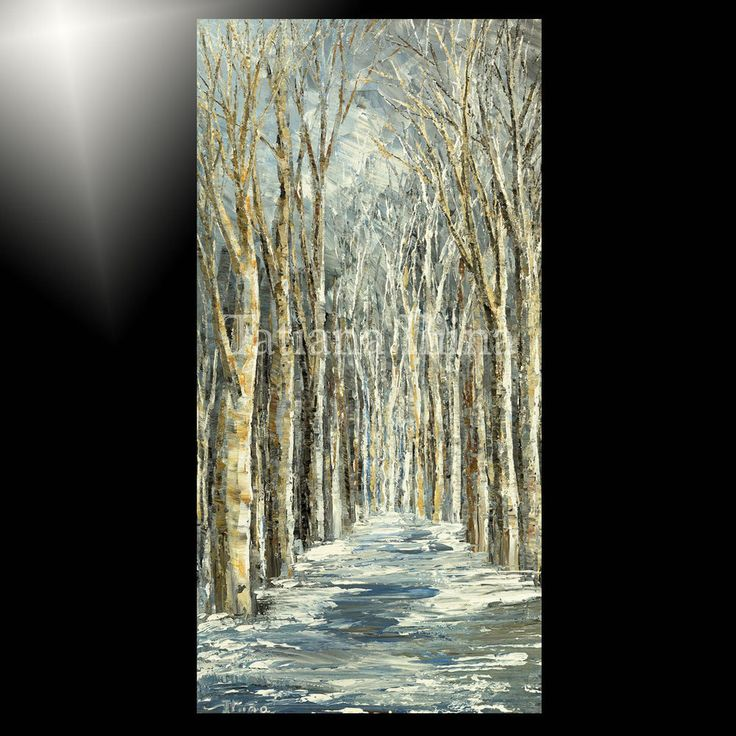 ORIGINAL forest painting TREES winter LANDSCAPE picture ART white birch TATIANA