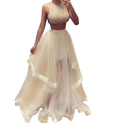 CANIS Women's 2pcs Sleeveless Champagne Ruffles Floor Length Prom Evening Dress ** You can get additional details at the image link.