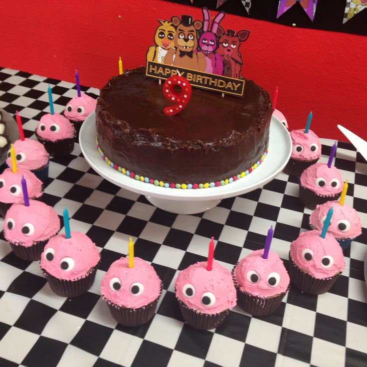 Five Nights at Freddy's Bday cake and cupcakes