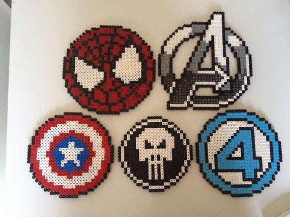 Marvel Superhero logos perler beads by PlanetPixel