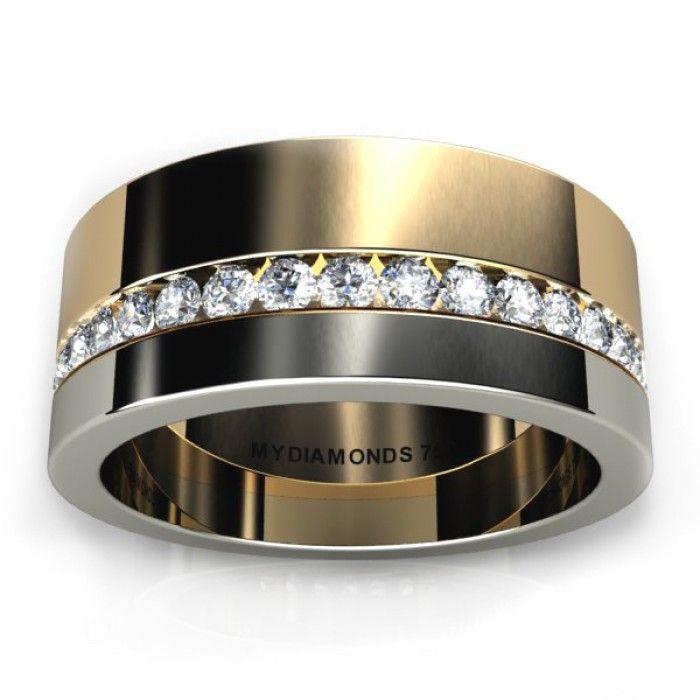 Aramis Mens diamodn wedding ring two tone