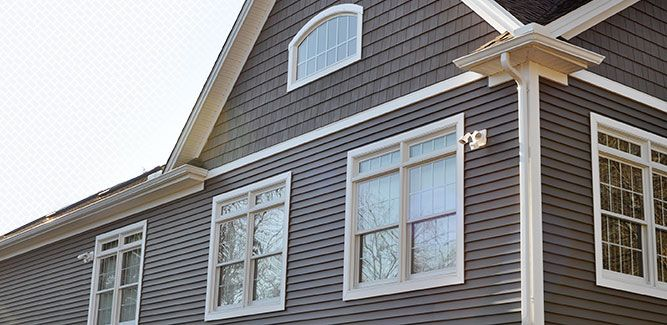 This is their siding color (with the shake look over the garage) - Harbor Grey Mastic siding