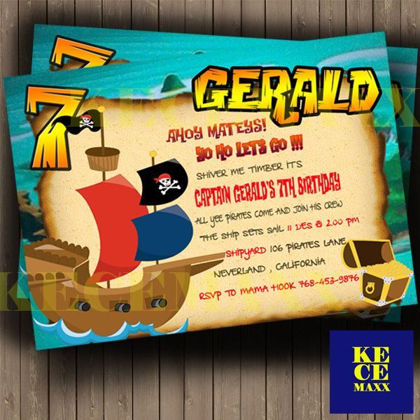 Pirates Birthday Invitation,Pirates,Captain Hook,Boat,Sailor,Tresure,Island,Boy Birthday Invitation,map,anchor,Invite,Cute,Flag,Ship by kecemaxx on Etsy